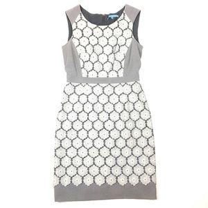 Antonio Melanie gray lace floral sheath dress